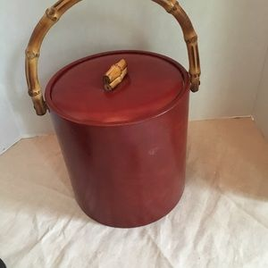 Other - Vintage ice bucket brown with faux bamboo handles.
